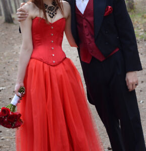 Red Wedding or Prom Dress, Size Small