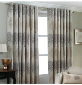 Oakdale Woven Trees Jacquard Lined Eyelet Curtains Silver