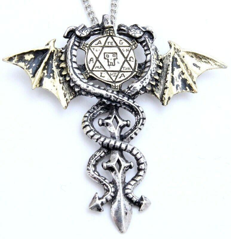 Necklace Pendant Sacred Dragon Amulet Gothic PaganJewellery Forbidden Range NEW
