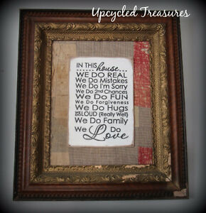 Antique Upcycled frame and Quilt Family sign