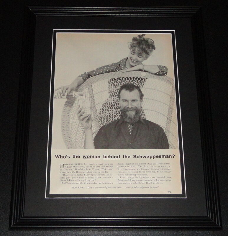 1959 Schweppes Schweppesman 11x14 Framed ORIGINAL Vintage Advertisement