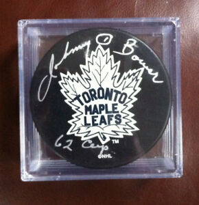 Signed Leafs Puck, signed by Johnny Bower