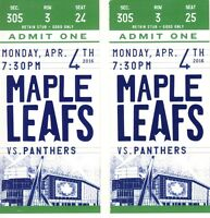 Maple Leafs vs Florida Panthers - April 4 - 3rd Row Greens