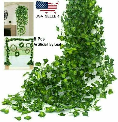 6PCS Artificial Ivy Leaf Plants Fake Hanging Garland Plants Vine Home Decoration