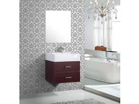 Brown wall mounted washbasin cabinet with mirror, store clearance, brand new with original pacakge