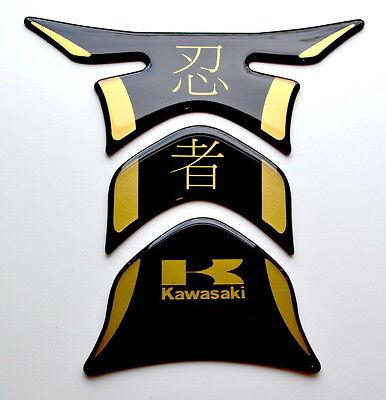 Kawasaki Ninja Kanji Piano Black +matt Gold Tank Protector pad Decal Sticker