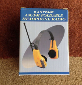 VINTAGE SUNTONE AM/FM FOLDABLE HEADPHONE RADIO IN BOX Model