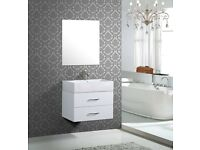 white wall mounted washbasin cabinet with mirror, store clearance, brand new with original package