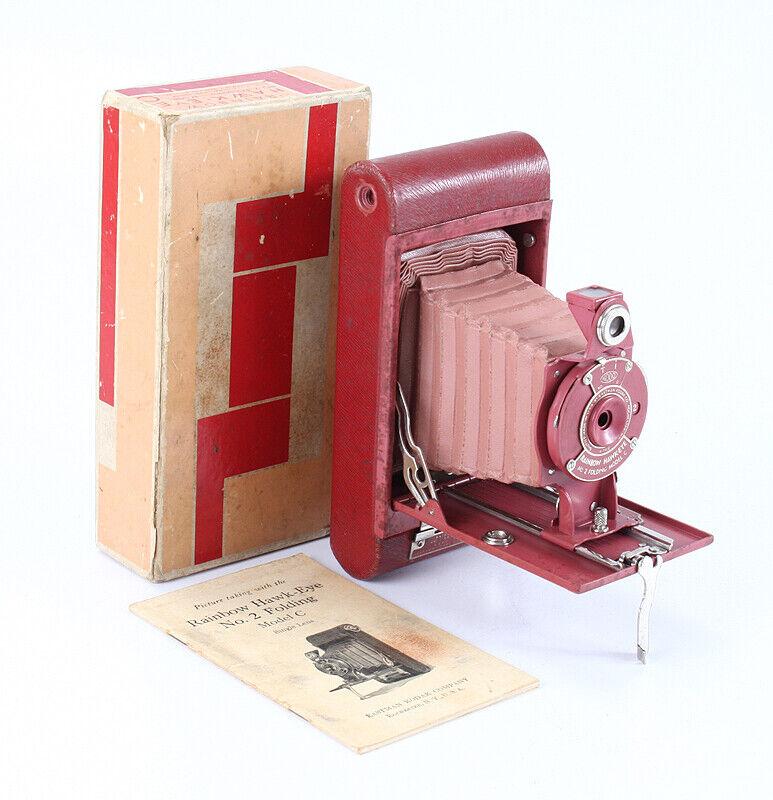 KODAK NO. 2 FOLDING RAINBOW HAWK-EYE MODEL C, OLD ROSE, BOXED/cks/203281