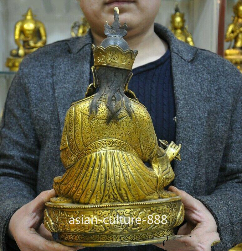 "12/""Old Tibet Buddhism bronze Gilt Padmasambhava Guru Rinpoche Buddha God statue"