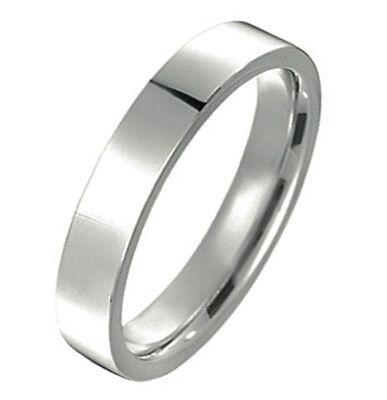 - Unisex Plain Silver Wedding Flat Comfort Fit Titianium Couple Ring Band MKUS048B