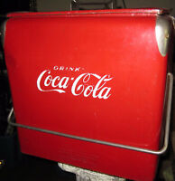 LARGE ANTIQUE DRINK COCA COLA COOLER WITH MOUTED OPENER
