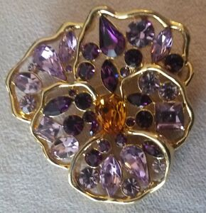 NOLAN MILLER  Crystal Pansy Brooch...REDUCED
