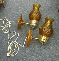 PAIR OF VINTAGE WALL MOUNTED AMBER LIGHTS