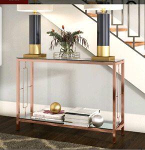 Console rose gold/ table d'entrée en vitre moderne couleur or