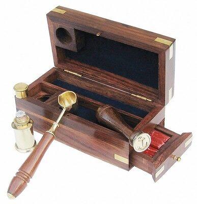 Maritimes Siegel Set - Petschaft - Messing - Teak Box - sc-9022