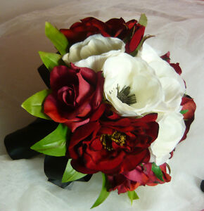 So Pretty Red, Black & White Wedding Bouquet Flower Package. London Ontario image 2
