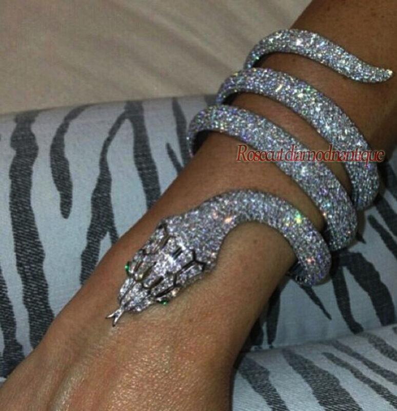 FINISH ARTDECO ANTIQUE ROSE CUT DIAMOND 18.42ct SILVER 925 SNAKE DESIGN BRACELET