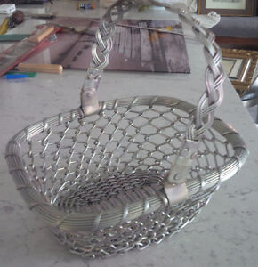 Vintage Grey Metal Weaved Basket