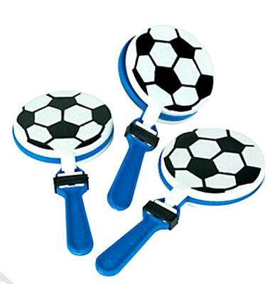 Lot Of 12 Soccer Balls Black, White & Blue Plastic Hand Clapper Noisemakers](Soccer Noise Maker)