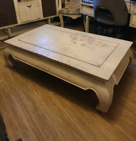 Large solid pine mid-century opium coffee table