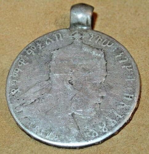 Antique Emperor Menelik II Silver Coin Medallion Ethiopian Pendant, Ethiopia