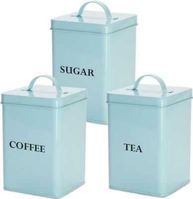 Andrew James 3pc Tea Coffee Sugar Canister Set Vintage Blue Kitchen Storage Jars