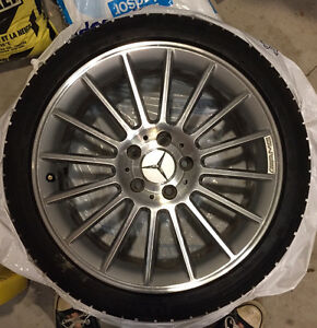 "GENUINE Mercedes Benz AMG 18"", 16-spoke wheels on snow tires Kitchener / Waterloo Kitchener Area image 1"