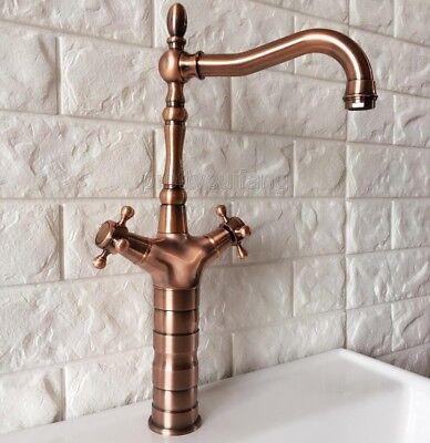 Antique Red Copper Swivel Spout Kitchen Sink Faucet Mixer Basin Tap Prg057