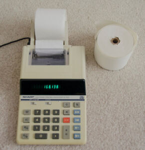 Vintage Sharp EL1625 electronic calculator with tape printer