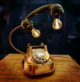 Upcycled Vintage Copper Belgium Telephone Lamp