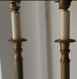 Pair of antiqued brass tall candlestick lamp bases