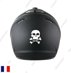 sticker autocollant casque moto scooter tete de mort crane squelette skull ebay. Black Bedroom Furniture Sets. Home Design Ideas