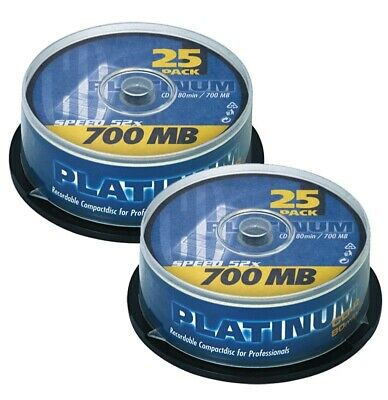 Platinum CD-R 700 MB CD-Rohlinge 52x Speed, 80 Min, 50 Stück, 2 x 25er Spindel