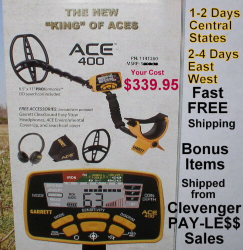 New Garrett Ace 400 Metal Detector with Extra Items * Fast FREE Shipping