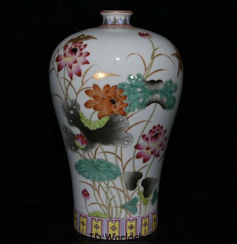 """12.8"""" Yongzheng Marked China Colour Enamel Porcelain Lotus Leaf Plum Bottle Vase"""
