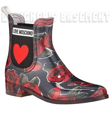 LOVE MOSCHINO rubber 37 black & red ROSES logo HEART ankle Rainboots NIB Authent