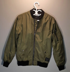 H&M Youth Boys Padded Bomber Jacket Army Green XL
