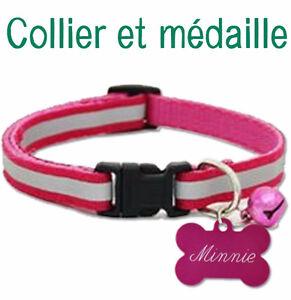 Ensemble de collier et médaille pour chat ou petit chien
