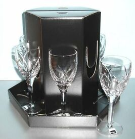 Waterford Crystal white wine glasses in presentation hat box