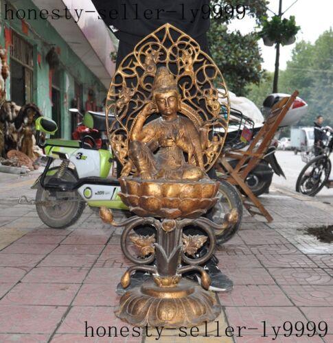 China Buddhism Bronze Gilt 4 Arms Chenrezig Kwan-yin Guanyin Bodhisattva Statue