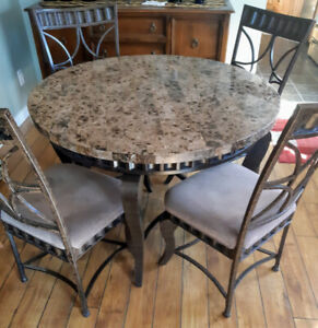 REDUCED**  UNIQUE AND BEAUTIFUL SLATE TOP TABLE AND 4 CHAIRS