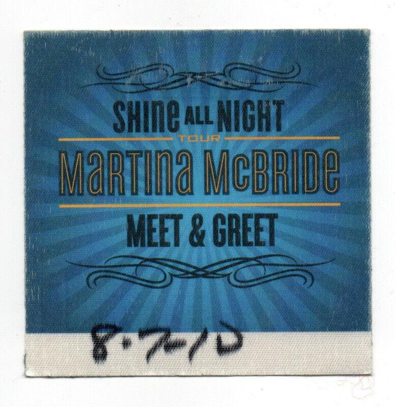Martina McBride 2010 Shine All Night Tour Meet & Greet Satin Backstage Pass