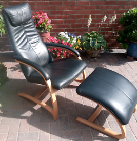 Vintage late 80's 90's barker and stonehouse leather chair and stool.