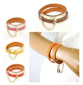 Women-Genuine-Leather-Lock-Chain-Bracelet-Cuff-Wrap-Bangle-Wristband-Fashion-Arm