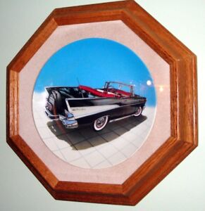 1957 Chevy Convertible Collector Plate in Beautiful Oak Frame