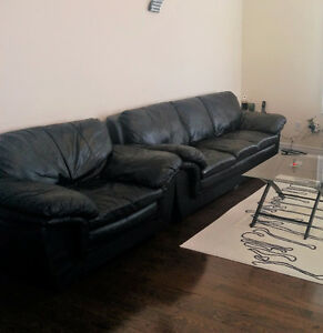 genuene leather sofa and chair 2pc