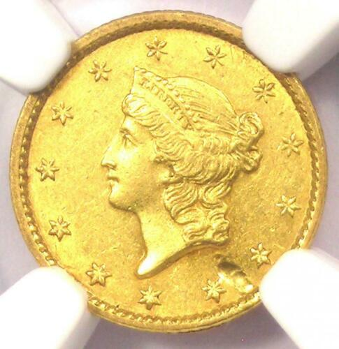 1851-C Liberty Gold Dollar G$1 - NGC AU Details - Rare Charlotte Coin - Near MS!