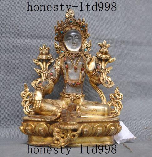 Natural Crystal 24k Gold Gilt Turquoise Coral Green Tara Guan Yin Buddha Statue