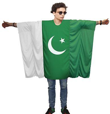 Unisex Pakistan Flag Poncho World Cup Football One Size Cricket Fan (World Cup Kostüme)